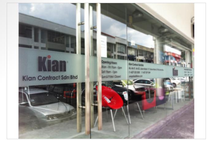Kian contract glass door sticker
